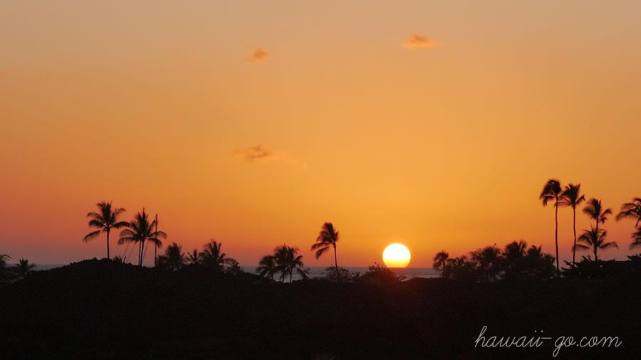 ハワイ島の日の入り